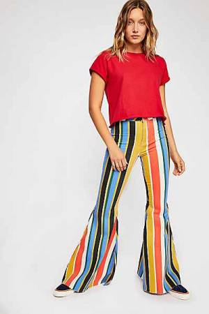 "Free People Jeans ""Just Float On"" Striped '70s Flares"