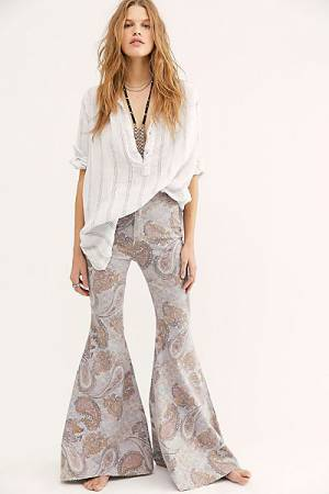 "Free People Flare Jeans ""Just Float On Limestone Paisley"" Bell Bottoms"