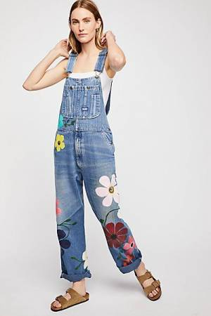 """Rialto Jean Project Denim Overalls """"Floral Painted"""""""