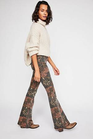 "Free People Jeans ""Penny"" Boho Pull-On Flares"