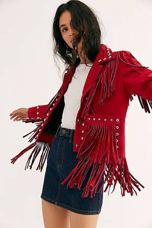 "Understated Leather Fringe Jacket ""Watermelon"""