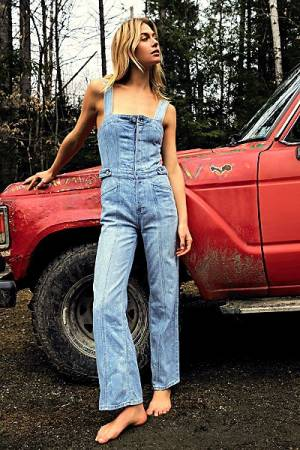 "Free People Denim Overalls ""Showdown Jumpsuit"""