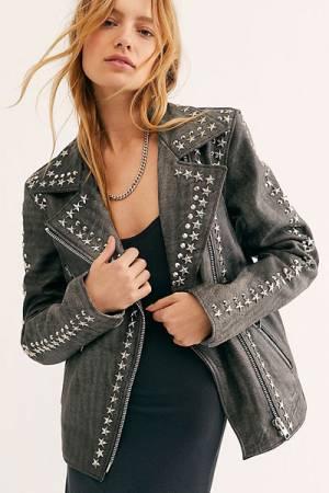 "Understated Leather Jacket ""Star Studded"""