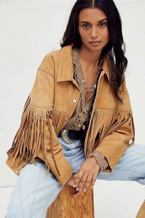 "Understated Leather Fringed Suede Bomber Jacket ""Howling Moon"""
