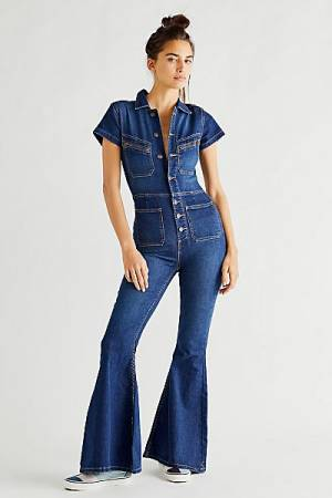 """Free People Denim Jumpsuit """"Hearts Beat Coverall"""""""
