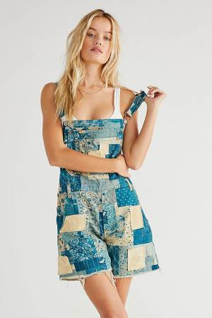 """Free People Jeans """"Lo Fidelity Patchwork Shortalls"""""""