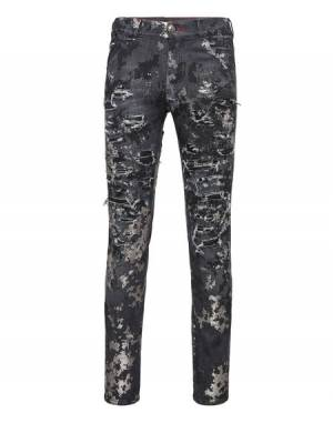 "Philipp Plein Men's Jeans ""PAINTED"" Distressed Camouflage"
