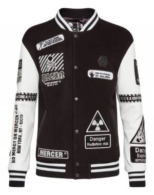 "Philipp Plein Men's Bomber Jacket ""MM GOTHIC PLEIN"" Patches"