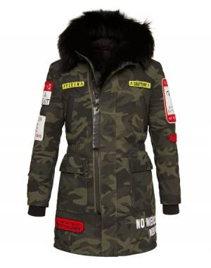 "Philipp Plein Jackets ""WARNING"" Men's Camouflage Parka"