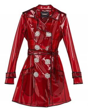 "Philipp Plein Women's PVC Trench Coat ""SIGNATURE"" Red"