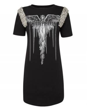 "Philipp Plein Mini Dress ""ANGEL"" Black Gothic T-Shirt"