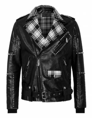 "Philipp Plein Men's Leather Jacket ""BIKER FLAME"""