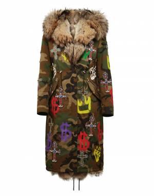 """Philipp Plein Women's Parka Jacket """"Graffiti Camouflage"""""""