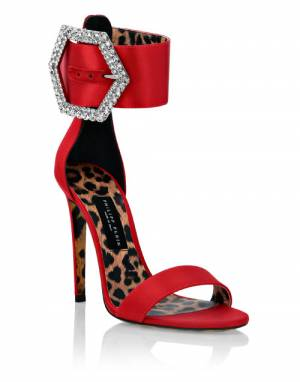 "Philipp Plein Women's Sandals ""Iconic Plein Red High-Heels"""