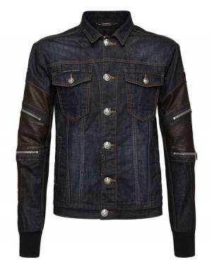 "Philipp Plein Men Denim Jacket ""ZIPPED"""