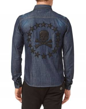 "Philipp Plein Men's Denim Shirt ""SKULL STARS"""