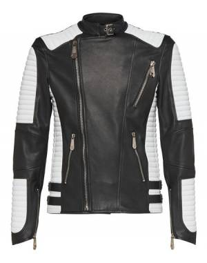 "Philipp Plein Men's Leather Biker Jacket ""NOTHING"""