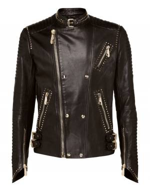 "Philipp Plein Leather Jacket ""DRIVE FAST"" Men's Biker"