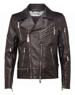 "Philipp Plein Men's Leather Biker Jacket ""BELIEVER"""