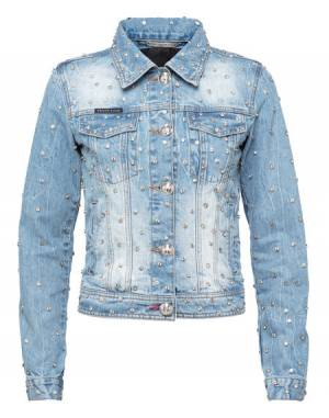 "Philipp Plein Women's Denim Jacket ""CRYSTALS MIND"" Blue"