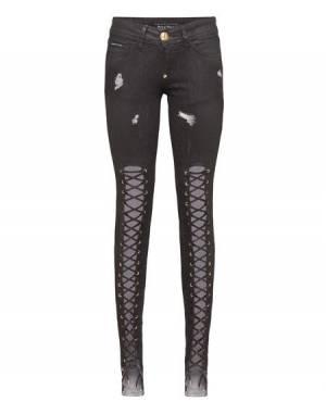 """Philipp Plein Black Lace-Up Jeans """"YOU & ME"""""""