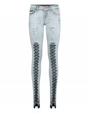 "Philipp Plein Women's Skinny Jeans ""YOU & ME"" Lace Up Slim Fit"