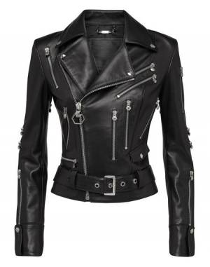 "Philipp Plein Women's Leather Biker Jacket ""DARK"""