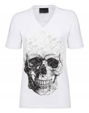 "Philipp Plein Women's T-Shirt ""CRYSTAL AND SKULL"" White Top"