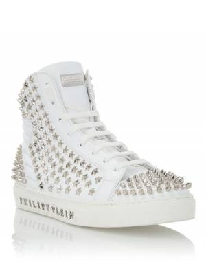 "Philipp Plein Men's Sneakers ""TREVOR"" Studded Hi-Top Shoes"