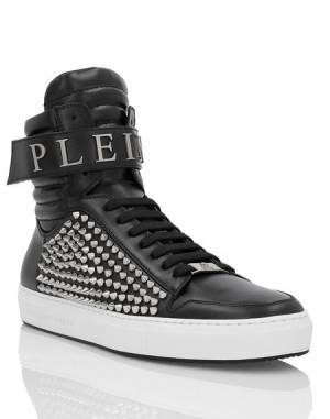 "Philipp Plein Men's Sneakers ""ERNIE"" Studded Hi-Tops"