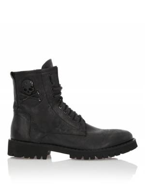 "Philipp Plein Men's Combat Boots ""ROCK MAN"" Skull"