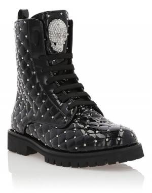 "Philipp Plein Combat Boots ""MOON"" Skull Women's Shoes"