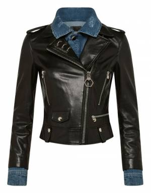 "Philipp Plein Leather Jacket ""DENIM BIKER SKULL"""