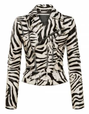 "Philipp Plein Leather Jacket ""ZEBRA BIKER"""