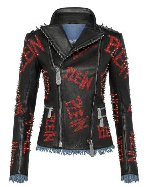 "Philipp Plein Leather Jacket ""BIKER PLAIN"""