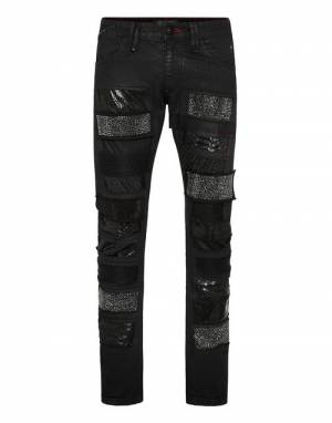 "Philipp Plein Men's Jeans ""Milano Supernova Crystal Patchwork"""