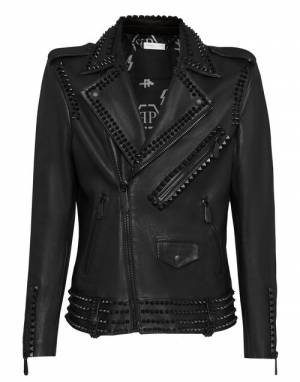 "Philipp Plein Men's Leather Jacket ""Biker Black Studs"""