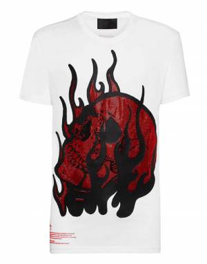 "Philipp Plein Men's T-Shirt ""Skull On Fire"""