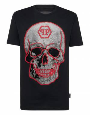 "Philipp Plein Men's T-Shirt ""Black Crystal Skull Top"""