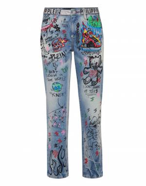 "Philipp Plein Women's Jeans ""Boyfriend Art 5 Graffiti"""
