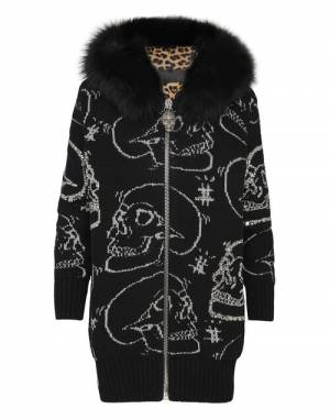 "Philipp Plein Women's Knit Jacket ""Skull Strass"""