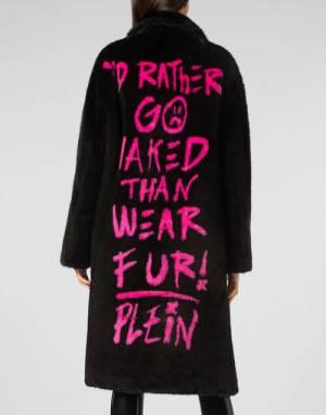 """Philipp Plein Women's Vegan Fur Coat """"Graffiti"""""""