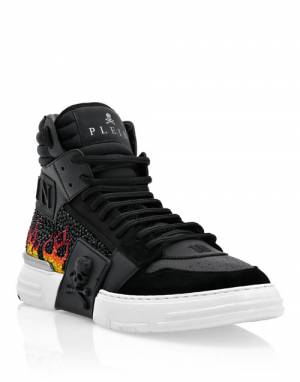"Philipp Plein Men's Sneakers ""Phantom Kick$ High Top Crystal Flame"""