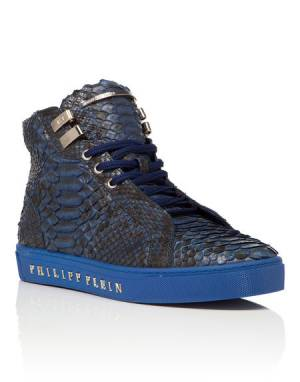 "Philipp Plein Men ""BAY"" Blue Mid-Top Sneakers"