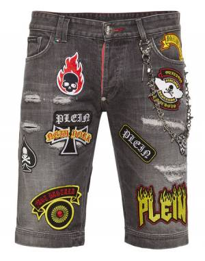 "Philipp Plein Men's Bermuda Jeans ""BASTARD"" Denim Shorts"