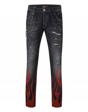"Philipp Plein Men's Jeans ""DRIVING"" Straight Cut Denim"