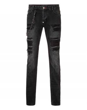 Philipp Plein Fashion Show Distressed Denim Jeans