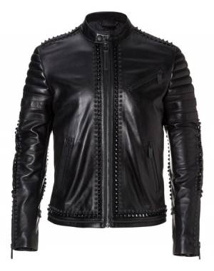"Philipp Plein ""EVERY DEMON"" Leather Moto Jacket"