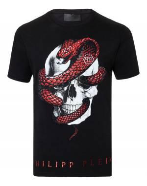 """Philipp Plein """"STRASS SNAKE"""" Skull T-Shirt"""