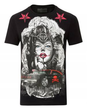 "Philipp Plein T-Shirt ""BLUE EYES"" Black"